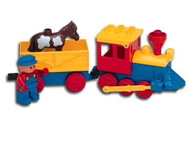 Lego Duplo Railway Train Engine with tipping wagon /& minifigure