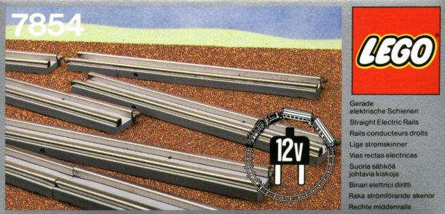 Lego 7854: 8 12v Straight Electric Rails Grey
